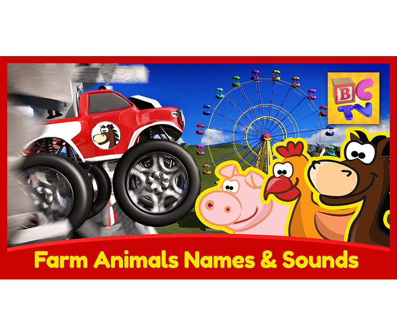 Learn Names & Sounds of Farm Animals with Monster Trucks at the Carnival