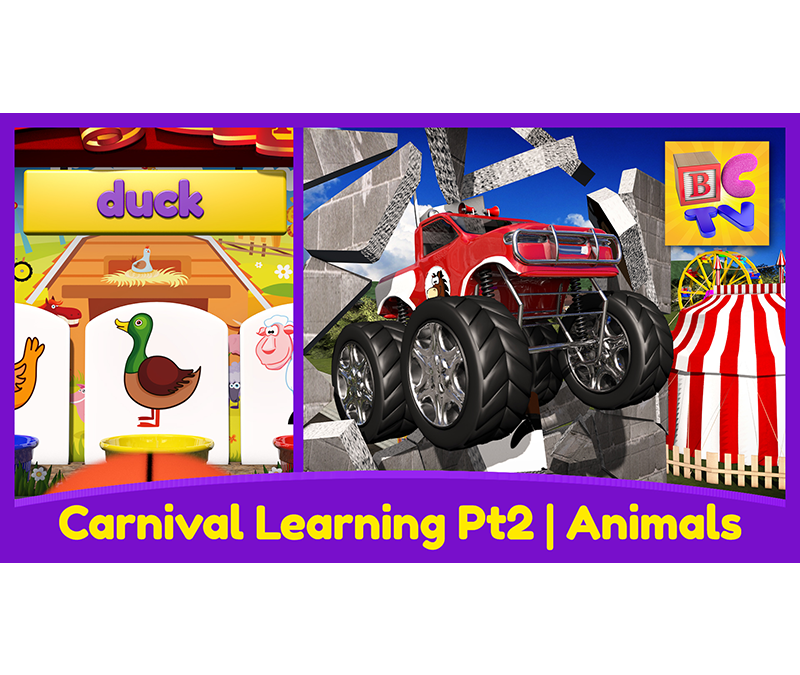 Farm Animals for Kids Pt 2 – Learn the Names and Sounds with Monster Trucks & a Carnival Game