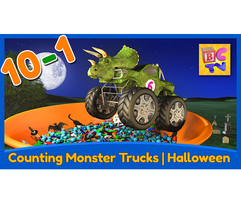 Counting Monster Trucks – Halloween Edition | Learn to Count Backwards from 10-1 for Kids