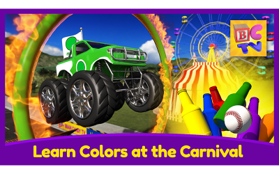 Learn Colors for Kids with Monster Trucks and a Fun Carnival Game